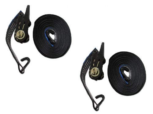 25MM Black Ratchet Straps 10M with J Hook x2 - 0.8 Ton Tie Down Trailer Cargo Truck